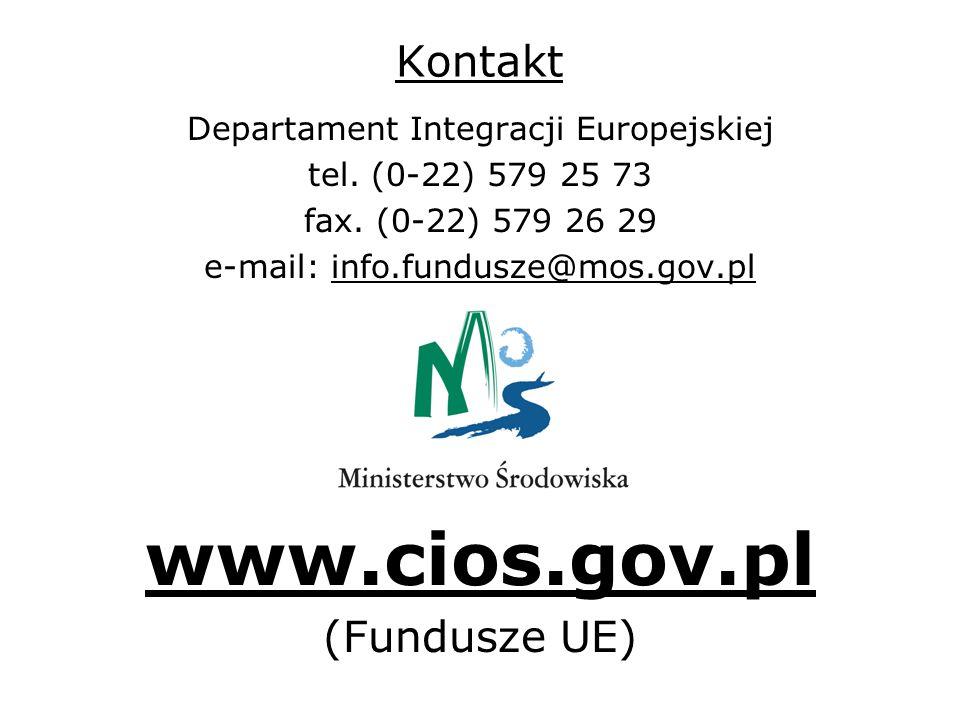 Kontakt Departament Integracji Europejskiej tel. (0-22) 579 25 73 fax.