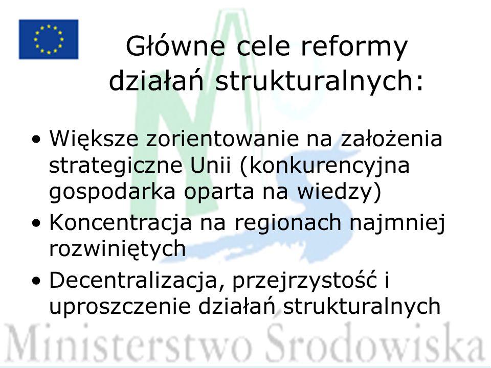 Główne cele reformy działań strukturalnych: Większe zorientowanie na założenia strategiczne Unii (konkurencyjna gospodarka oparta na wiedzy) Koncentracja na regionach najmniej rozwiniętych Decentralizacja, przejrzystość i uproszczenie działań strukturalnych