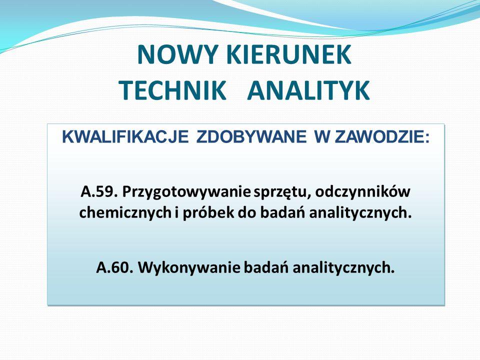 Technik analityk 1470 godzin kształcenia zawodowego, 6 tygodni praktyki zawodowej u pracodawców, egzaminy państwowe dla każdej kwalifikacji: po czwartym i po siódmym semestrze nauki,