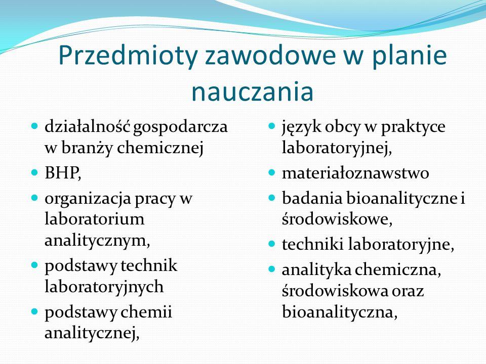 Przedmioty zawodowe w planie nauczania działalność gospodarcza w branży chemicznej BHP, organizacja pracy w laboratorium analitycznym, podstawy techni