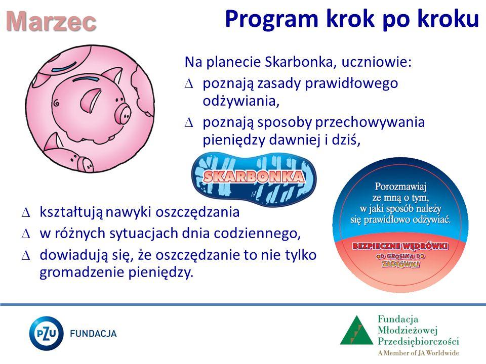 Marzec Program krok po kroku Na planecie Skarbonka, uczniowie:  poznają zasady prawidłowego odżywiania,  poznają sposoby przechowywania pieniędzy da