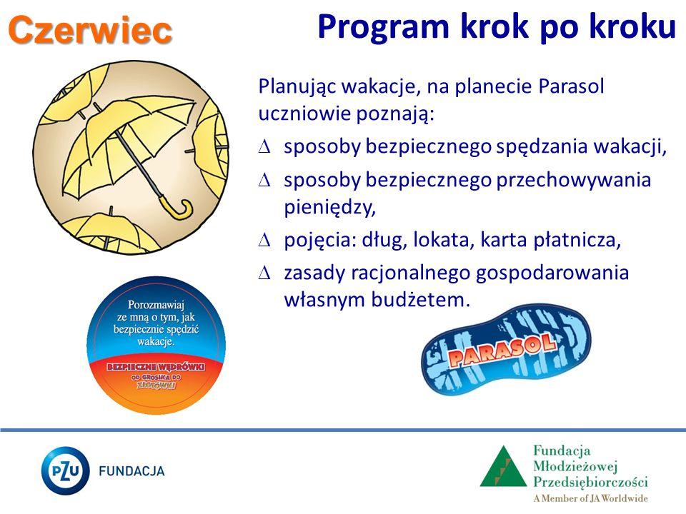 Czerwiec Program krok po kroku Planując wakacje, na planecie Parasol uczniowie poznają:  sposoby bezpiecznego spędzania wakacji,  sposoby bezpieczne