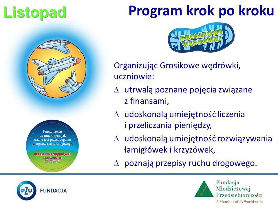 Listopad Program krok po kroku Organizując Grosikowe wędrówki, uczniowie:  utrwalą poznane pojęcia związane z finansami,  udoskonalą umiejętność lic