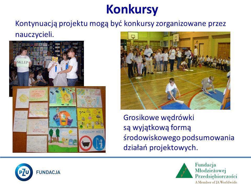 Konkursy Kontynuacją projektu mogą być konkursy zorganizowane przez nauczycieli. Grosikowe wędrówki są wyjątkową formą środowiskowego podsumowania dzi