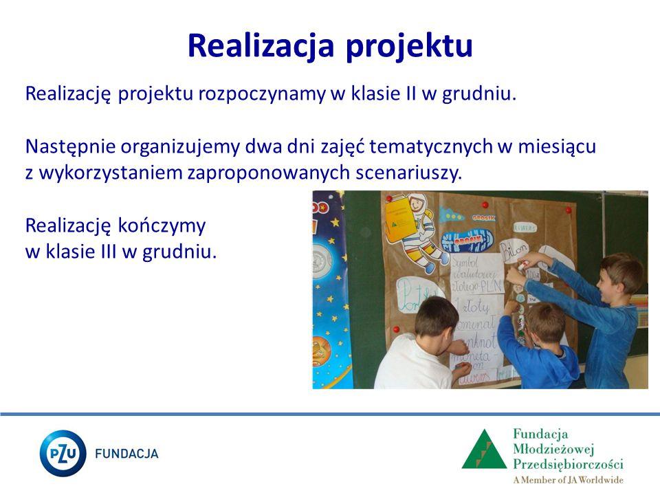 Realizację projektu rozpoczynamy w klasie II w grudniu. Następnie organizujemy dwa dni zajęć tematycznych w miesiącu z wykorzystaniem zaproponowanych
