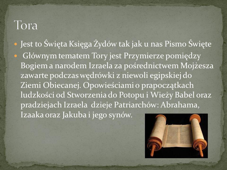Jest to Święta Księga Żydów tak jak u nas Pismo Święte Głównym tematem Tory jest Przymierze pomiędzy Bogiem a narodem Izraela za pośrednictwem Mojżesz