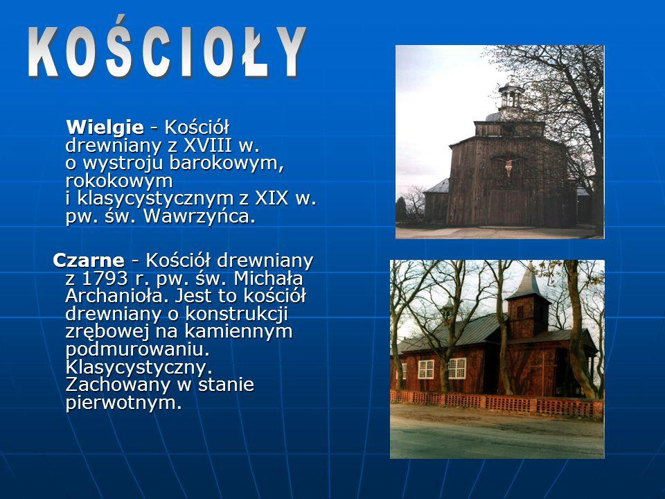 Wielgie - Kościół drewniany z XVIII w. o wystroju barokowym, rokokowym i klasycystycznym z XIX w. pw. św. Wawrzyńca. Wielgie - Kościół drewniany z XVI