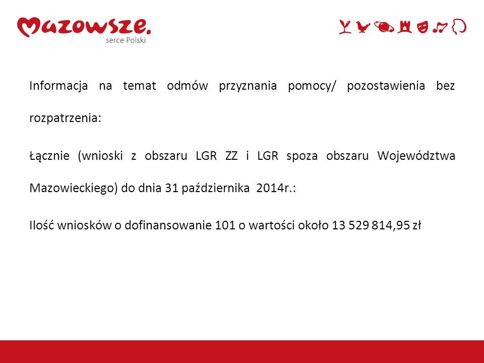 Informacja na temat odmów przyznania pomocy/ pozostawienia bez rozpatrzenia: Łącznie (wnioski z obszaru LGR ZZ i LGR spoza obszaru Województwa Mazowieckiego) do dnia 31 października 2014r.: Ilość wniosków o dofinansowanie 101 o wartości około 13 529 814,95 zł