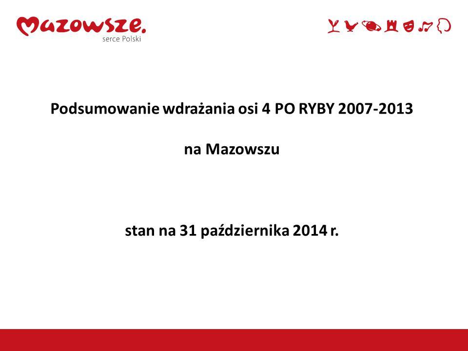 2 Podsumowanie wdrażania osi 4 PO RYBY 2007-2013 na Mazowszu stan na 31 października 2014 r.