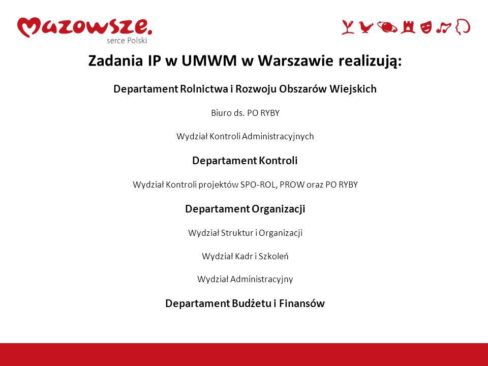 Zadania IP w UMWM w Warszawie realizują: Departament Rolnictwa i Rozwoju Obszarów Wiejskich Biuro ds.