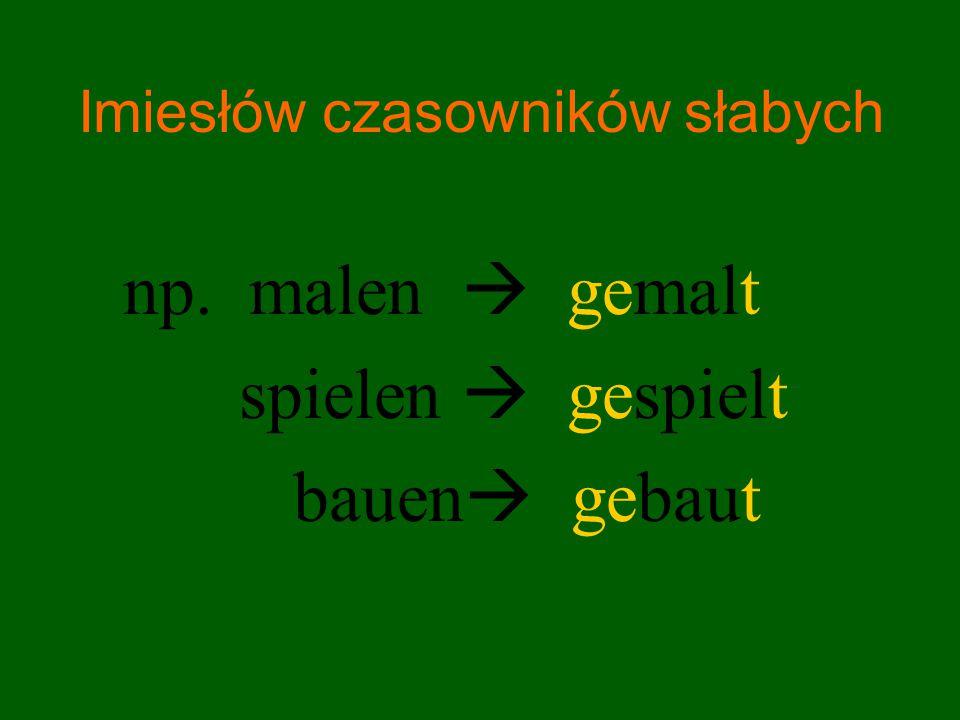 Imiesłów czasowników słabych, których temat zakończony jest na: t, d, chn, ffn, tm np.