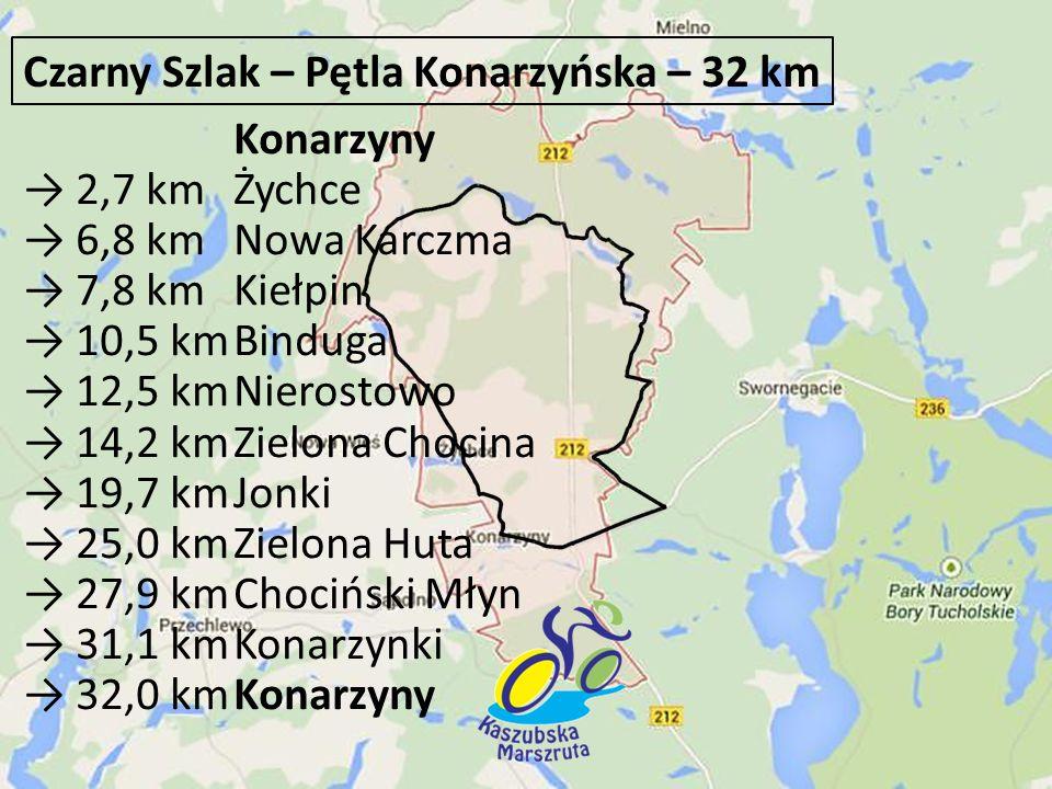Konarzyny → 2,7 km Żychce → 6,8 km Nowa Karczma → 7,8 km Kiełpin → 10,5 kmBinduga → 12,5 kmNierostowo → 14,2 kmZielona Chocina → 19,7 kmJonki → 25,0 k