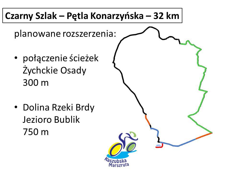 planowane rozszerzenia: połączenie ścieżek Żychckie Osady 300 m Dolina Rzeki Brdy Jezioro Bublik 750 m Czarny Szlak – Pętla Konarzyńska – 32 km