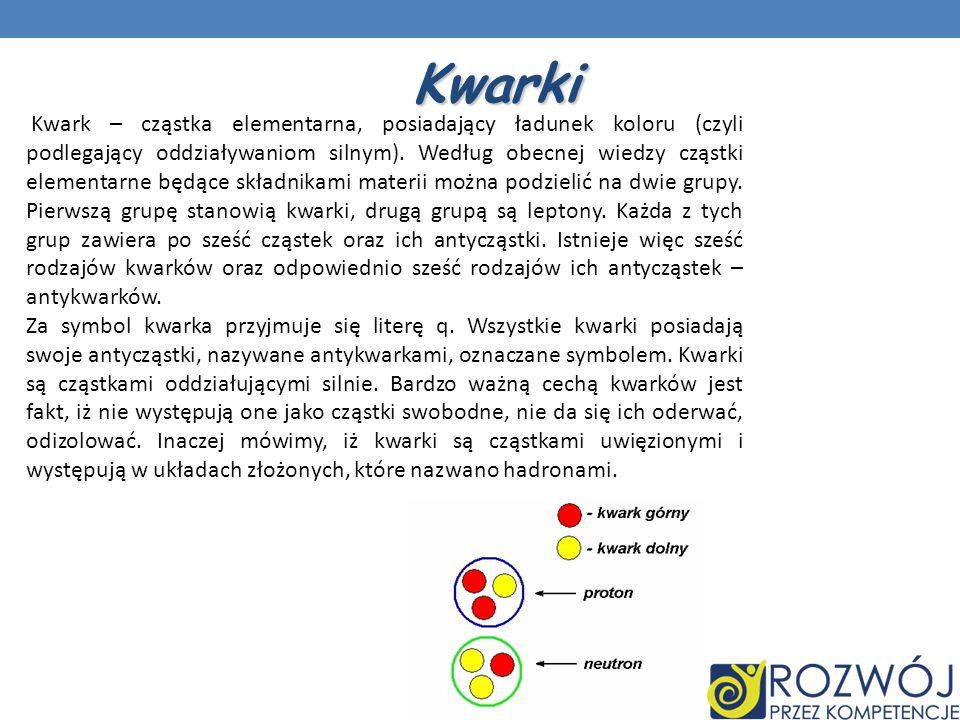 Kwarki Kwark – cząstka elementarna, posiadający ładunek koloru (czyli podlegający oddziaływaniom silnym). Według obecnej wiedzy cząstki elementarne bę