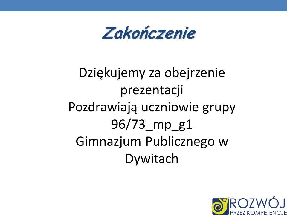 Zakończenie Dziękujemy za obejrzenie prezentacji Pozdrawiają uczniowie grupy 96/73_mp_g1 Gimnazjum Publicznego w Dywitach