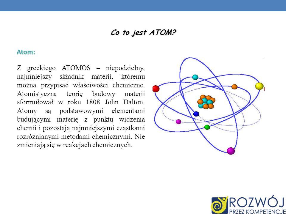 Atom: Z greckiego ATOMOS – niepodzielny, najmniejszy składnik materii, któremu można przypisać właściwości chemiczne. Atomistyczną teorię budowy mater