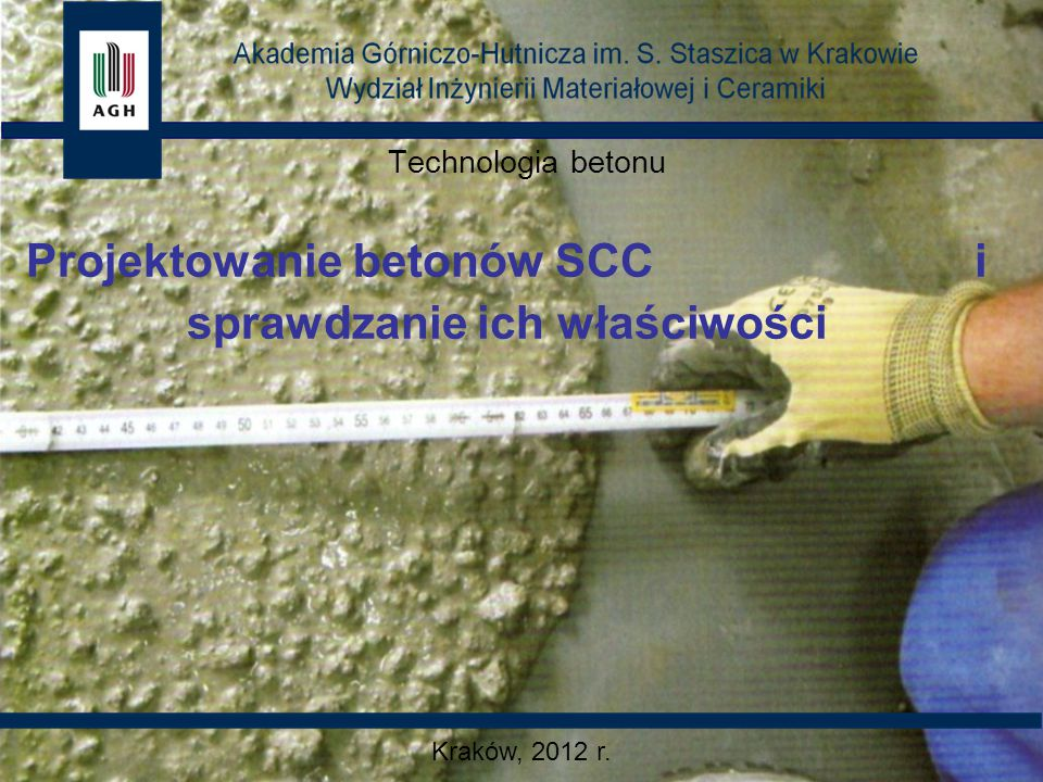 SkładnikCEM I 42,5RCEM III/A 32,5NA Ilość, kg/m 3 Cement450360 Dodatek mineralnymączka kwarcowa: 100 kg mikrokrzemionka: 20 kg popiół lotny: 170 Kruszywo 0/8 mm1690- Kruszywo 0/16 mm-1680 Woda210160 Superplastyfikator FM 389- Superplastyfikator FM 34-4,3 w/c0,46 WłaściwośćCEM I 42,5RCEM III/A 32,5NA Wyniki badań Rozpływ65 cm71 cm Wytrzymałość po 1 dniu20,0 MPa- Wytrzymałość po 3 dniach32,0 MPa12,0 MPa Wytrzymałość po 7 dniach-29,0 MPa Wytrzymałość po 28 dniach61,0 MPa48,0 MPa Wytrzymałość po 56 dniach-54,0 MPa Przykładowe receptury betonu SCC 0,44
