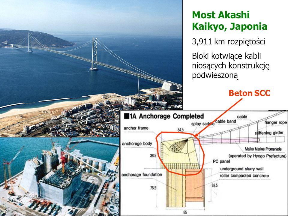 Most Akashi Kaikyo, Japonia 3,911 km rozpiętości Bloki kotwiące kabli niosących konstrukcję podwieszoną Beton SCC