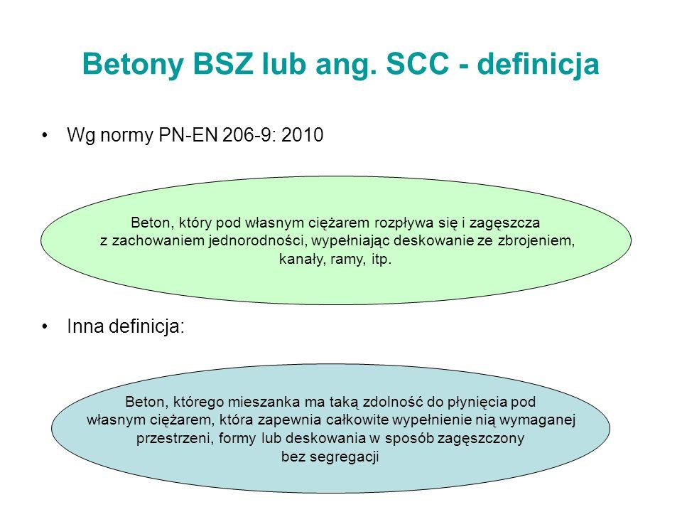 Betony BSZ lub ang. SCC - definicja Wg normy PN-EN 206-9: 2010 Inna definicja: Beton, który pod własnym ciężarem rozpływa się i zagęszcza z zachowanie
