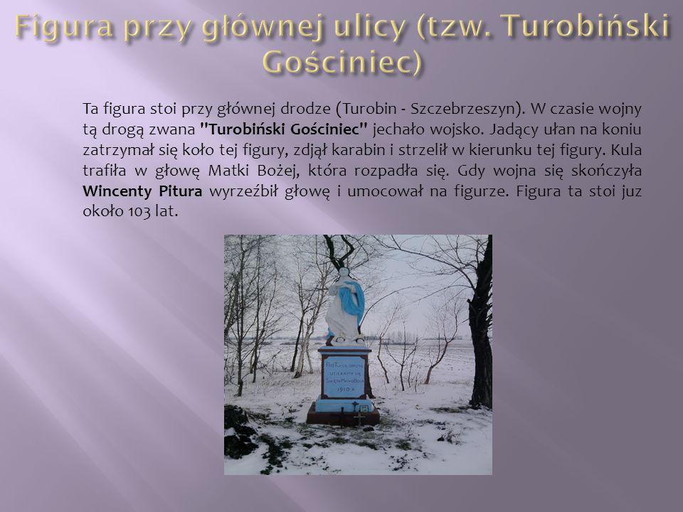 Ta figura stoi przy głównej drodze (Turobin - Szczebrzeszyn). W czasie wojny tą drogą zwana ''Turobiński Gościniec'' jechało wojsko. Jadący ułan na ko