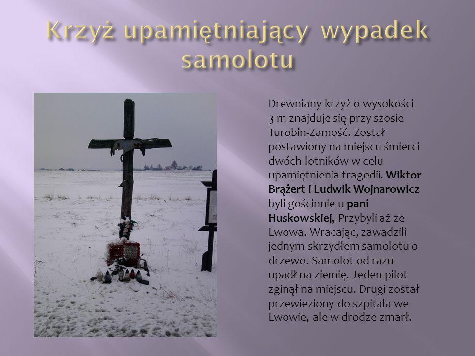 Drewniany krzyż o wysokości 3 m znajduje się przy szosie Turobin-Zamość. Został postawiony na miejscu śmierci dwóch lotników w celu upamiętnienia trag