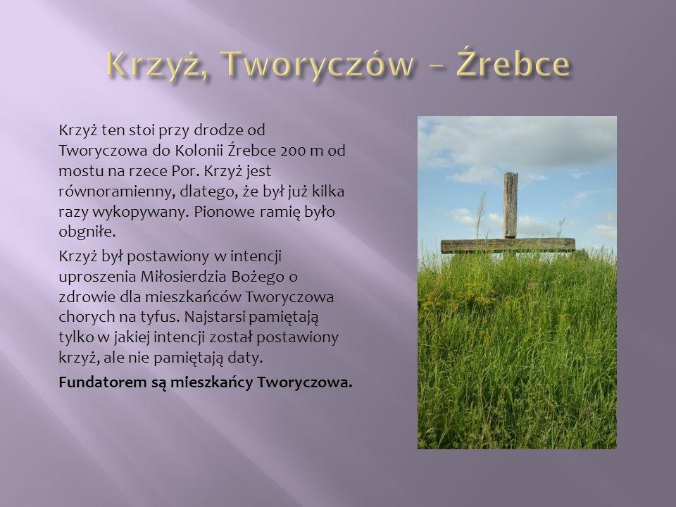 Krzyż ten stoi przy drodze od Tworyczowa do Kolonii Źrebce 200 m od mostu na rzece Por. Krzyż jest równoramienny, dlatego, że był już kilka razy wykop