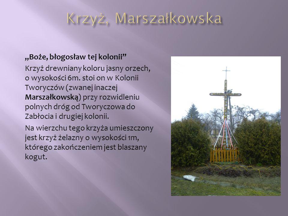 """""""Boże, błogosław tej kolonii"""" Krzyż drewniany koloru jasny orzech, o wysokości 6m. stoi on w Kolonii Tworyczów (zwanej inaczej Marszałkowską) przy roz"""