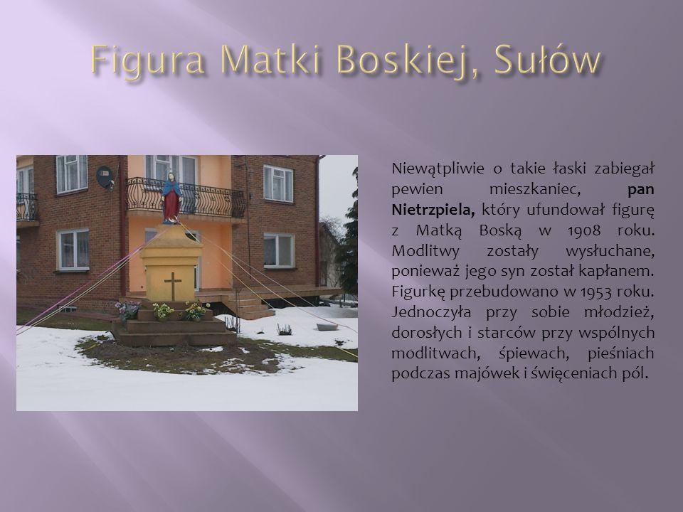 Niewątpliwie o takie łaski zabiegał pewien mieszkaniec, pan Nietrzpiela, który ufundował figurę z Matką Boską w 1908 roku. Modlitwy zostały wysłuchane