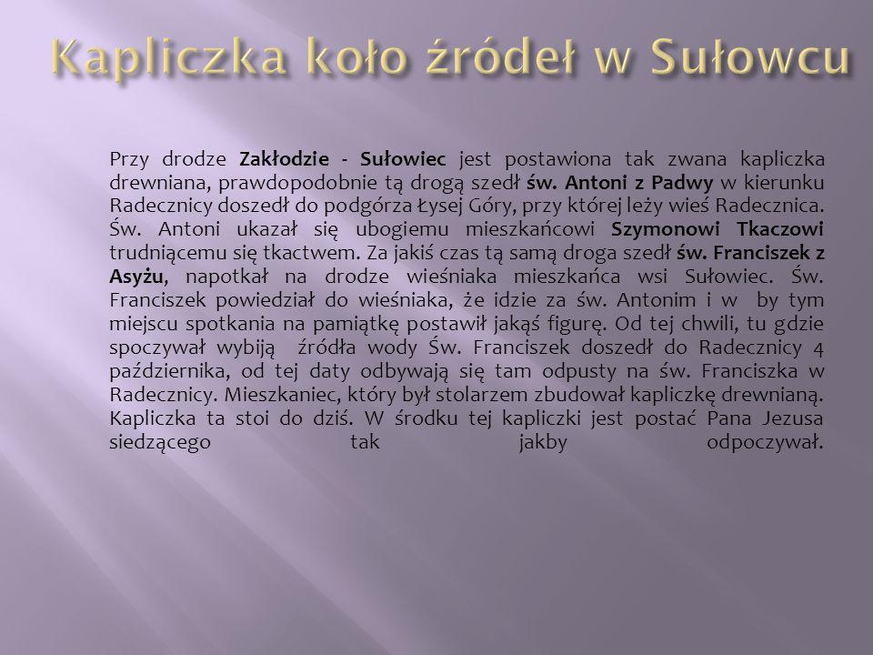 Przy drodze Zakłodzie - Sułowiec jest postawiona tak zwana kapliczka drewniana, prawdopodobnie tą drogą szedł św. Antoni z Padwy w kierunku Radecznicy