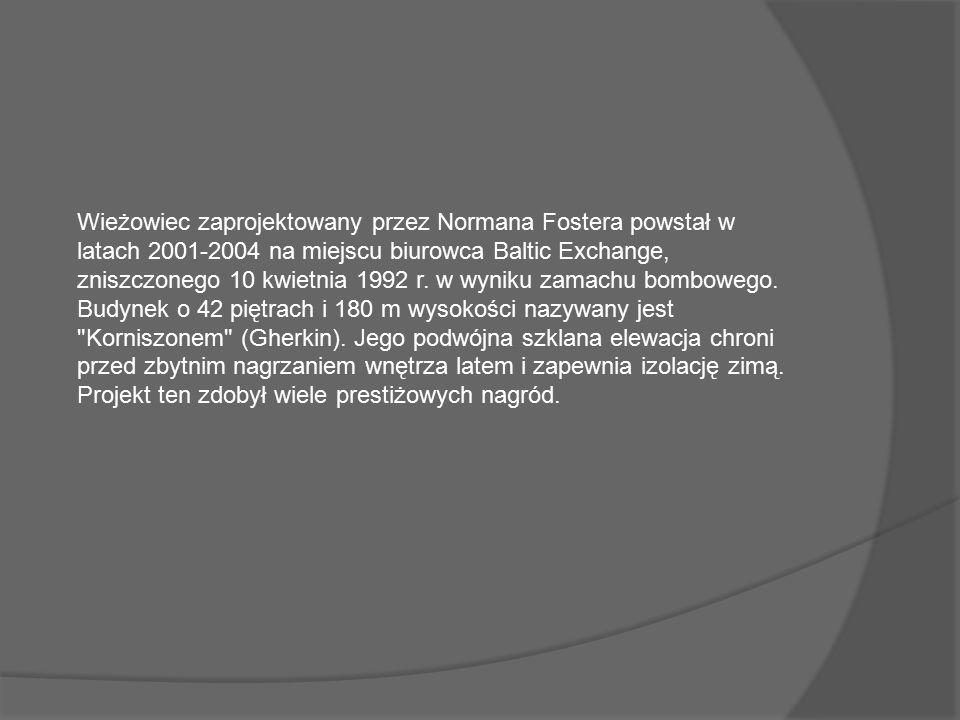 Wieżowiec zaprojektowany przez Normana Fostera powstał w latach 2001-2004 na miejscu biurowca Baltic Exchange, zniszczonego 10 kwietnia 1992 r.