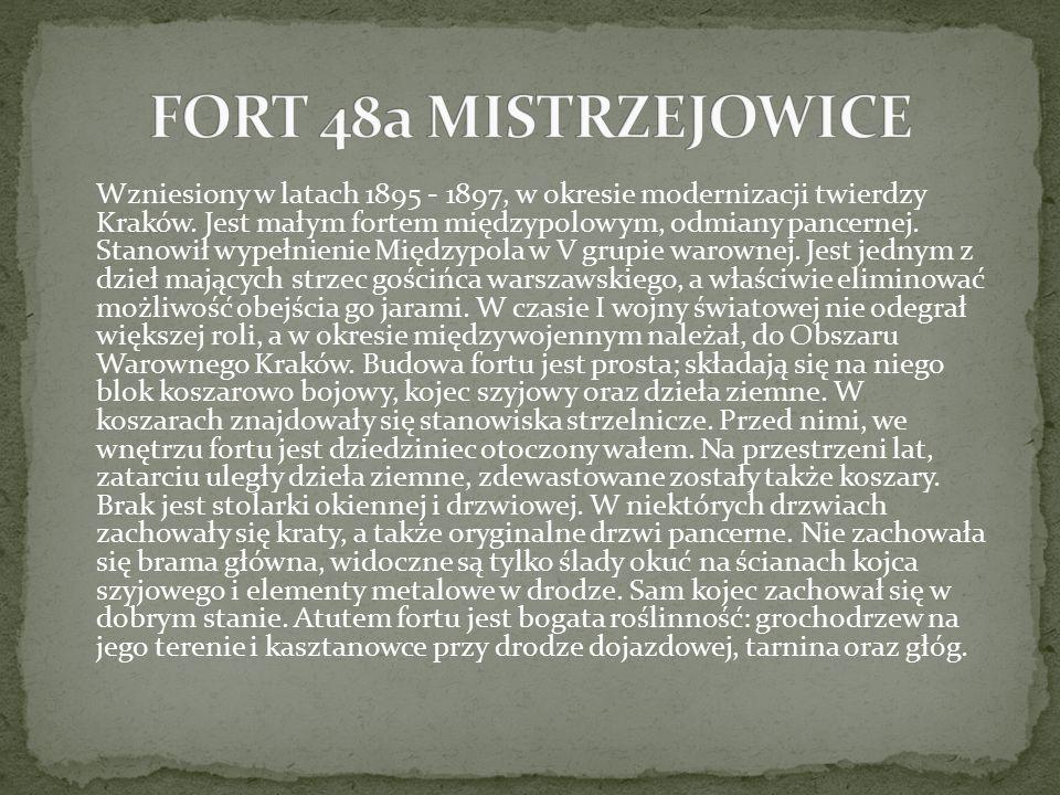 Wzniesiony w latach 1895 - 1897, w okresie modernizacji twierdzy Kraków. Jest małym fortem międzypolowym, odmiany pancernej. Stanowił wypełnienie Międ
