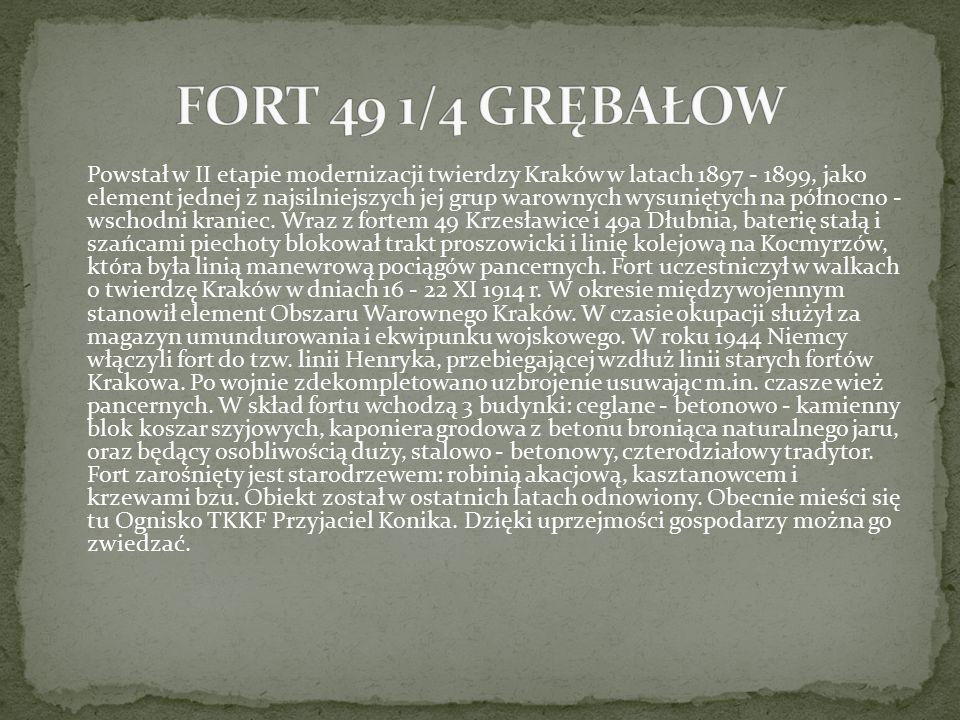 Powstał w II etapie modernizacji twierdzy Kraków w latach 1897 - 1899, jako element jednej z najsilniejszych jej grup warownych wysuniętych na północn