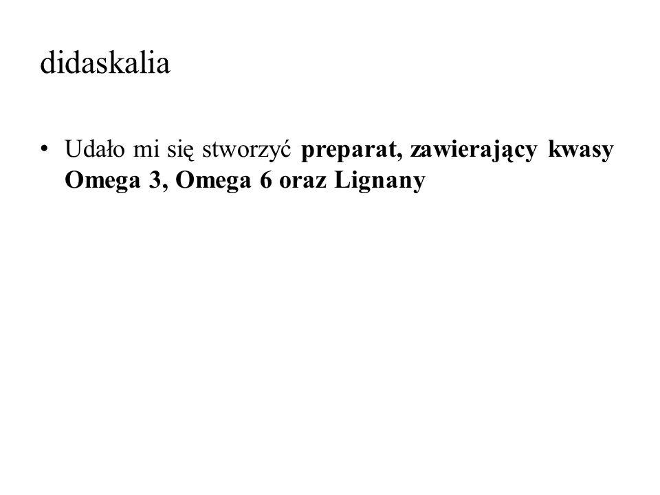 didaskalia Udało mi się stworzyć preparat, zawierający kwasy Omega 3, Omega 6 oraz Lignany