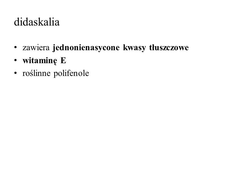didaskalia zawiera jednonienasycone kwasy tłuszczowe witaminę E roślinne polifenole