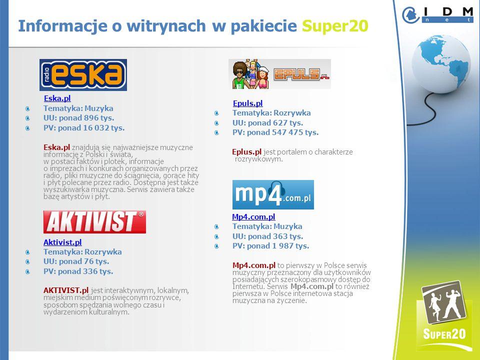 Eska.pl Tematyka: Muzyka UU: ponad 896 tys. PV: ponad 16 032 tys.