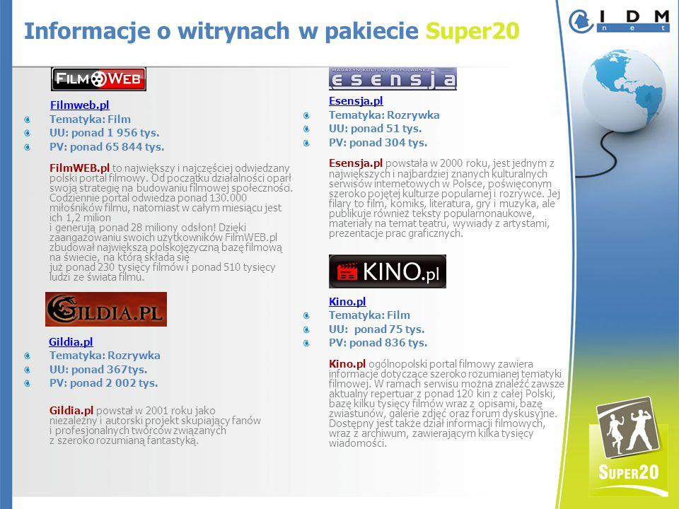 Filmweb.pl Tematyka: Film UU: ponad 1 956 tys. PV: ponad 65 844 tys.