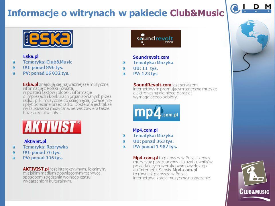 Eska.pl Tematyka: Club&Music UU: ponad 896 tys. PV: ponad 16 032 tys.