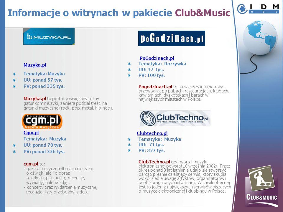 Muzyka.pl Tematyka: Muzyka UU: ponad 57 tys. PV: ponad 335 tys.