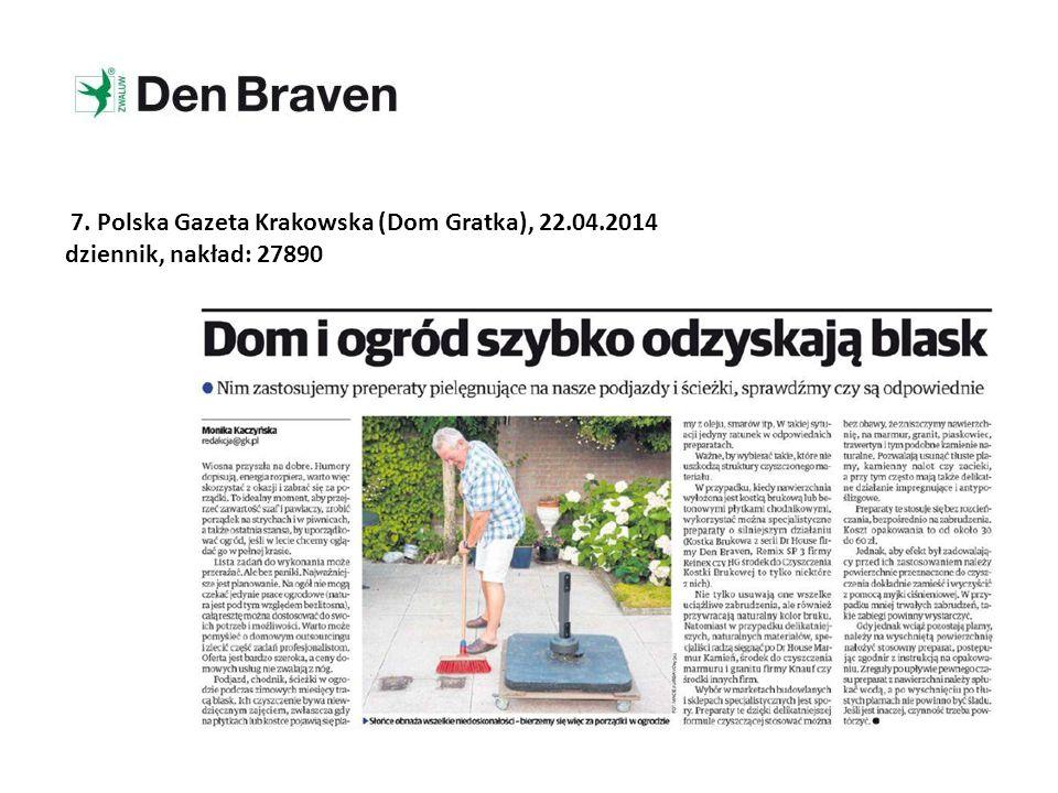 7. Polska Gazeta Krakowska (Dom Gratka), 22.04.2014 dziennik, nakład: 27890