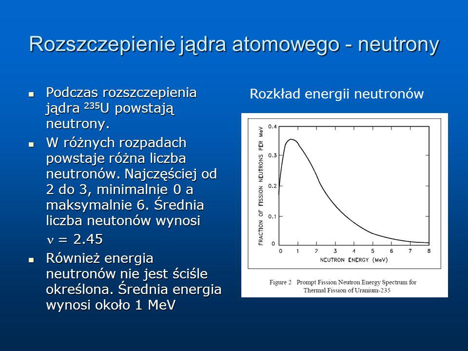 Rozszczepienie jądra atomowego - neutrony Podczas rozszczepienia jądra 235 U powstają neutrony. Podczas rozszczepienia jądra 235 U powstają neutrony.