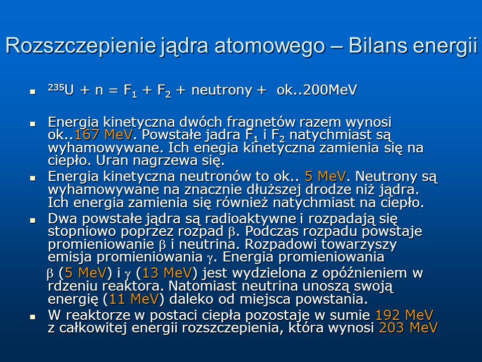 Rozszczepienie jądra atomowego – Bilans energii 235 U + n = F 1 + F 2 + neutrony + ok..200MeV 235 U + n = F 1 + F 2 + neutrony + ok..200MeV Energia ki