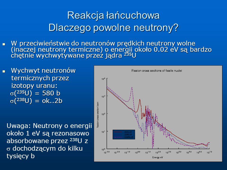 Reakcja łańcuchowa Dlaczego powolne neutrony? W przeciwieństwie do neutronów prędkich neutrony wolne (inaczej neutrony termiczne) o energii około 0.02