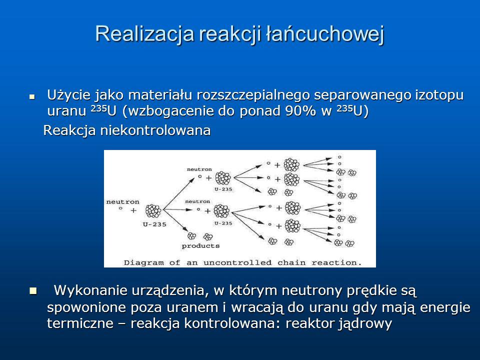 Realizacja reakcji łańcuchowej Użycie jako materiału rozszczepialnego separowanego izotopu uranu 235 U (wzbogacenie do ponad 90% w 235 U) Użycie jako