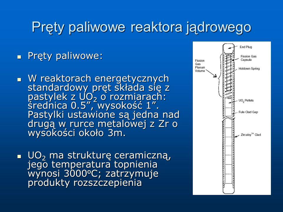 Pręty paliwowe reaktora jądrowego Pręty paliwowe: Pręty paliwowe: W reaktorach energetycznych standardowy pręt składa się z pastylek z UO 2 o rozmiara