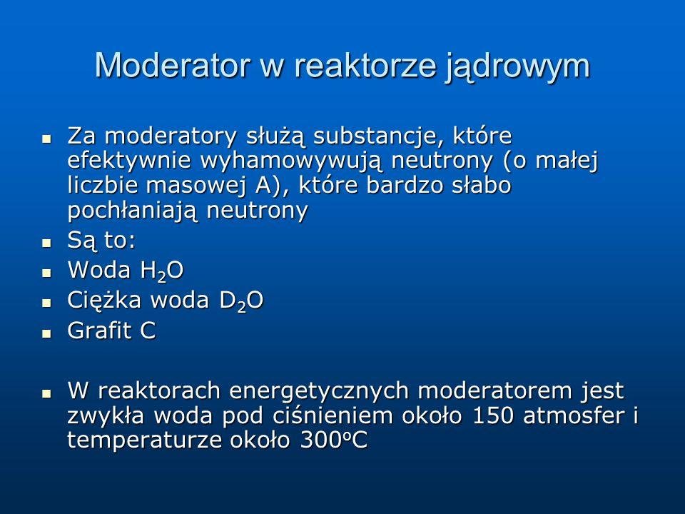 Moderator w reaktorze jądrowym Za moderatory służą substancje, które efektywnie wyhamowywują neutrony (o małej liczbie masowej A), które bardzo słabo