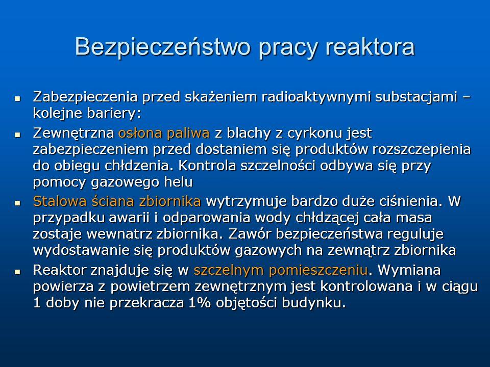 Bezpieczeństwo pracy reaktora Zabezpieczenia przed skażeniem radioaktywnymi substacjami – kolejne bariery: Zabezpieczenia przed skażeniem radioaktywny
