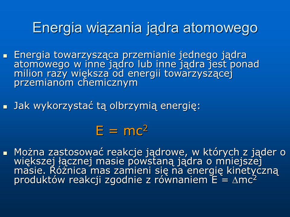 Energia wiązania jądra atomowego: E  /A w zależności od A Silnie związane jądra to jądra o liczbie A 50=60 Słabo związane to jądra lekkie i jądra bardzo ciężkie Reakcja jest egzotermiczna, gdy ze słabo związanego jadra powstaje jądro silnie związane