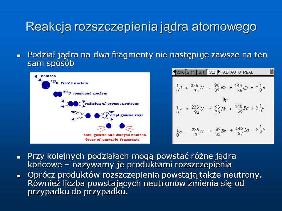 Reakcja rozszczepienia jądra atomowego Podział jądra na dwa fragmenty nie następuje zawsze na ten sam sposób Podział jądra na dwa fragmenty nie następ