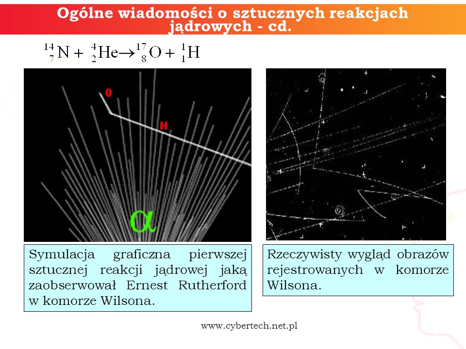 5 Ogólne wiadomości o sztucznych reakcjach jądrowych - cd. Symulacja graficzna pierwszej sztucznej reakcji jądrowej jaką zaobserwował Ernest Rutherfor