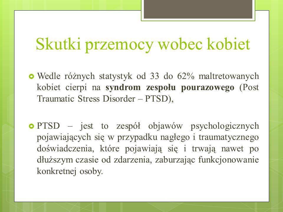 Skutki przemocy wobec kobiet  Wedle różnych statystyk od 33 do 62% maltretowanych kobiet cierpi na syndrom zespołu pourazowego (Post Traumatic Stress